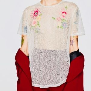 Zara Lace Embroiled Sheer White Top/Sz:S/NWT